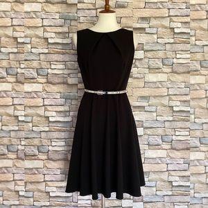 AB Studio Dresses - AB Studio Belted Skater Sleeveless Dress Black 6